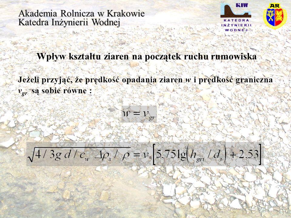 Akademia Rolnicza w Krakowie Katedra Inżynierii Wodnej Wpływ kształtu ziaren na początek ruchu rumowiska Jeżeli przyjąć, że prędkość opadania ziaren w
