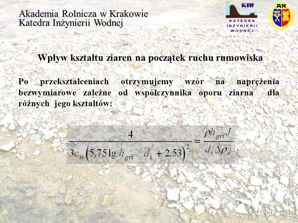 Akademia Rolnicza w Krakowie Katedra Inżynierii Wodnej Wpływ kształtu ziaren na początek ruchu rumowiska Po przekształceniach otrzymujemy wzór na napr
