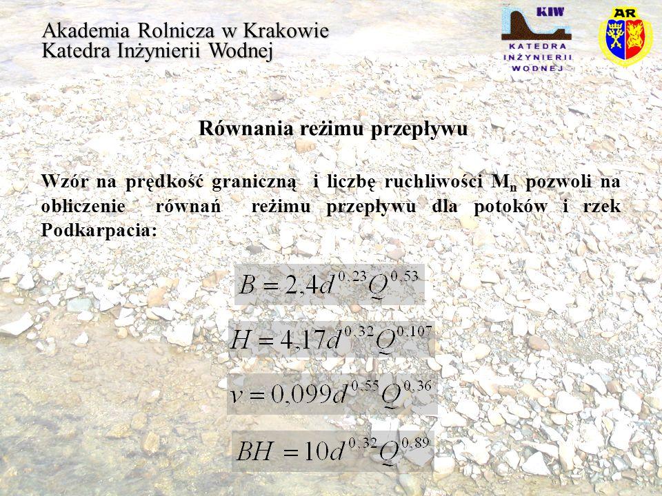 Akademia Rolnicza w Krakowie Katedra Inżynierii Wodnej Równania reżimu przepływu Wzór na prędkość graniczną i liczbę ruchliwości M n pozwoli na oblicz
