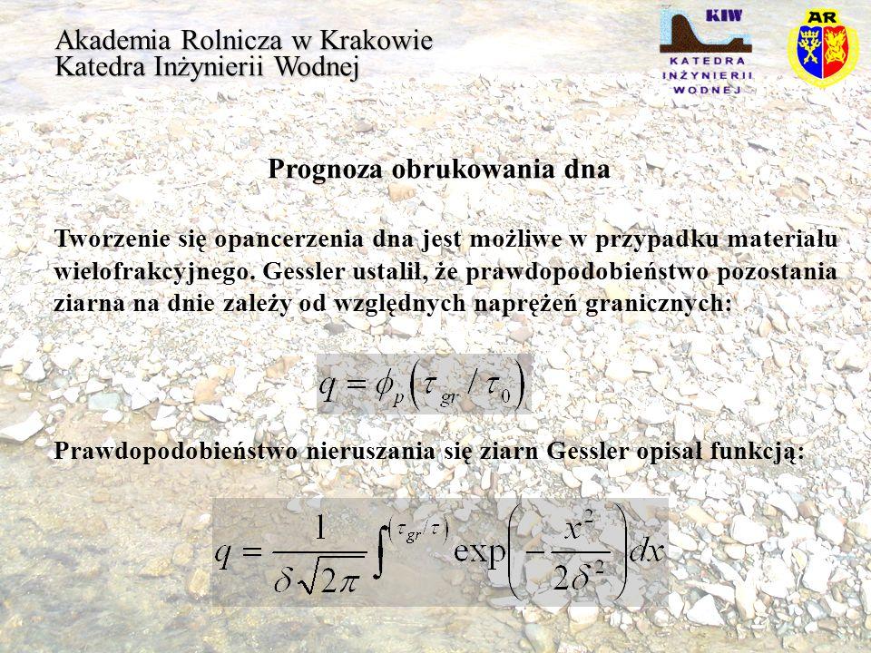 Akademia Rolnicza w Krakowie Katedra Inżynierii Wodnej Prognoza obrukowania dna Tworzenie się opancerzenia dna jest możliwe w przypadku materiału wiel