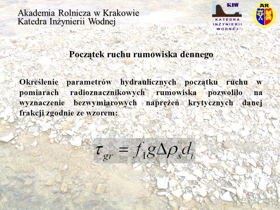 Akademia Rolnicza w Krakowie Katedra Inżynierii Wodnej Współczynnik klinowania się ziaren Poszczególni badacze podali następujące wzory: Parker Michalik (Dunajec,Wisłoka) Suzuki Bartnik (potoki Podkarpacia) d i /d m <0,6 d i /d m >0,6