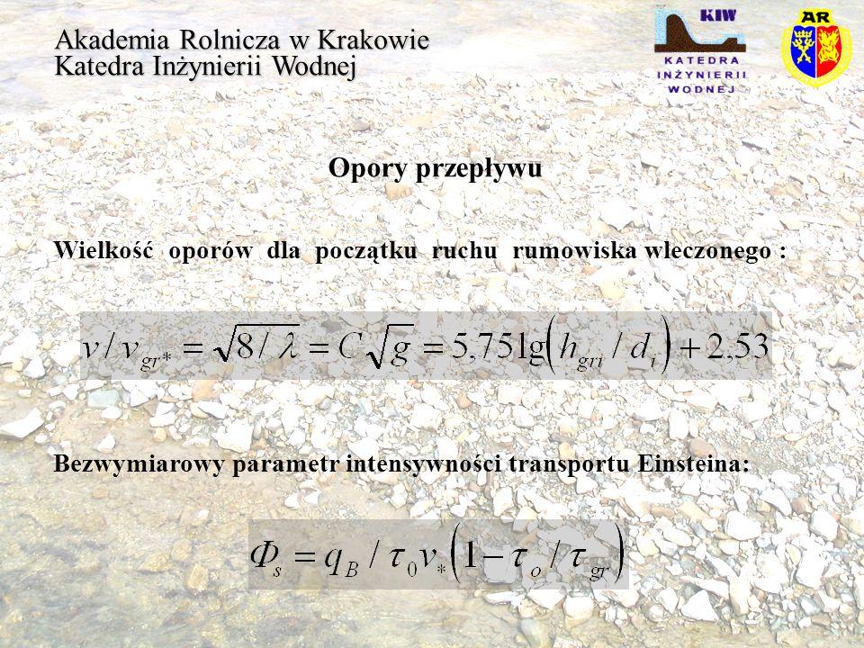 Akademia Rolnicza w Krakowie Katedra Inżynierii Wodnej Opory przepływu Wielkość naprężeń ścinających gr wyznaczono z pomiaru początku ruchu na Targaniczance, Wisłoce, Dunajcu i Rabie: dla n > 0,46 dla n < 0,046