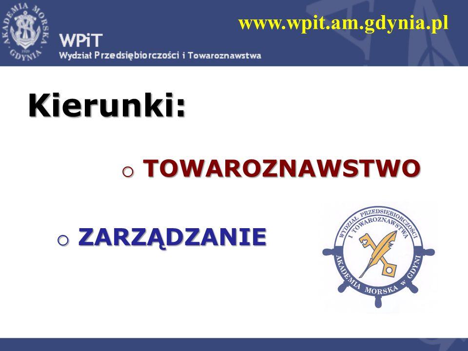 o TOWAROZNAWSTWO www.wpit.am.gdynia.pl o ZARZĄDZANIE Kierunki: