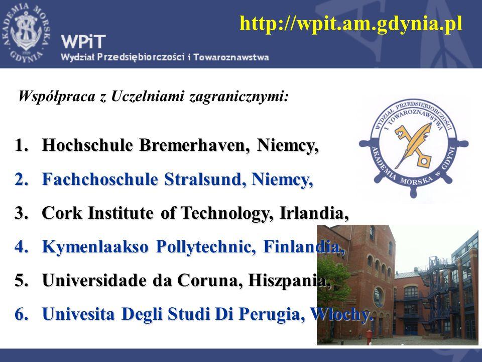 Współpraca z Uczelniami zagranicznymi: 1.Hochschule Bremerhaven, Niemcy, 2.Fachchoschule Stralsund, Niemcy, 3.Cork Institute of Technology, Irlandia,