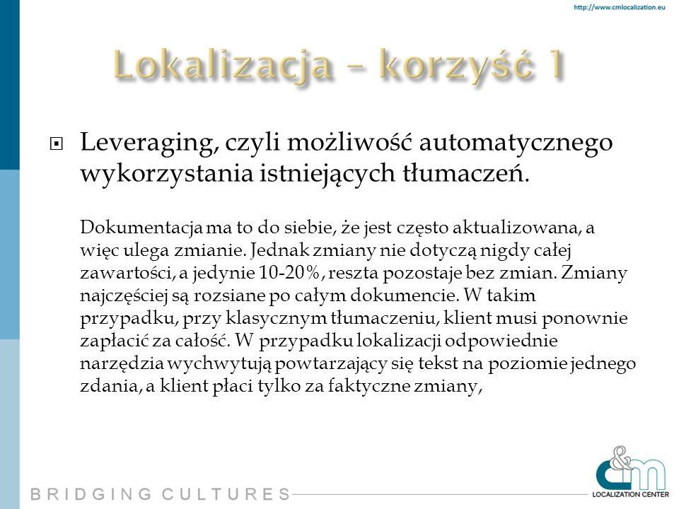 Leveraging, czyli możliwość automatycznego wykorzystania istniejących tłumaczeń. Dokumentacja ma to do siebie, że jest często aktualizowana, a więc ul