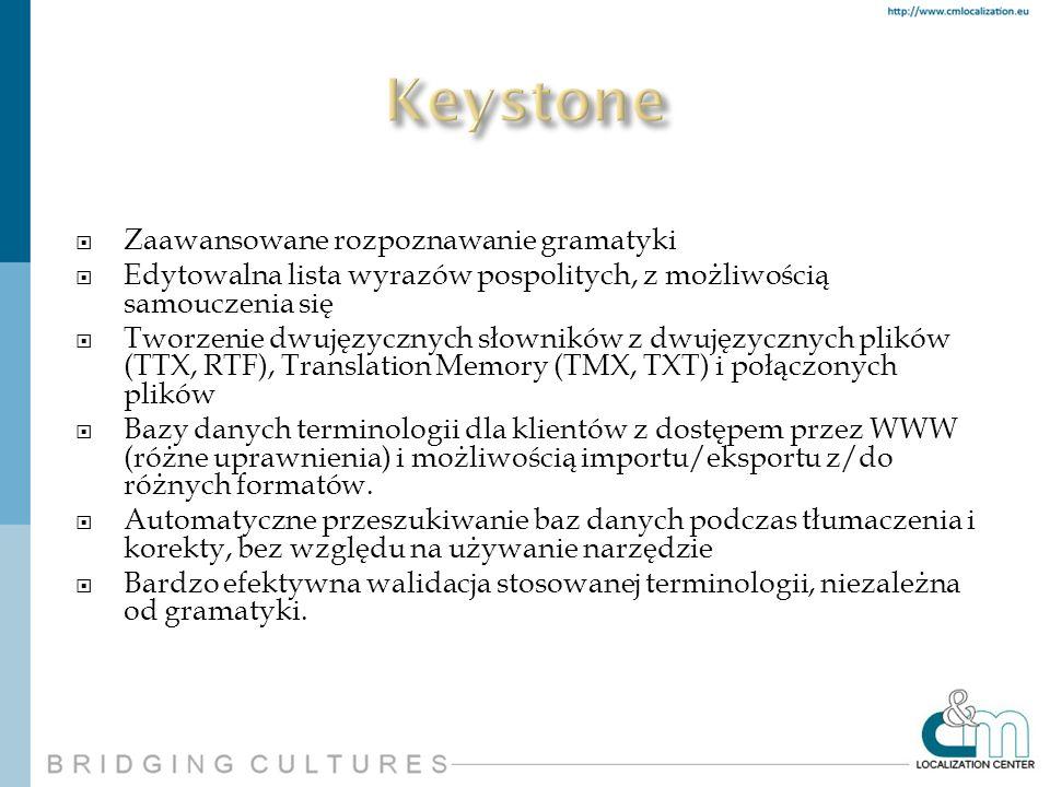 Zaawansowane rozpoznawanie gramatyki Edytowalna lista wyrazów pospolitych, z możliwością samouczenia się Tworzenie dwujęzycznych słowników z dwujęzycz