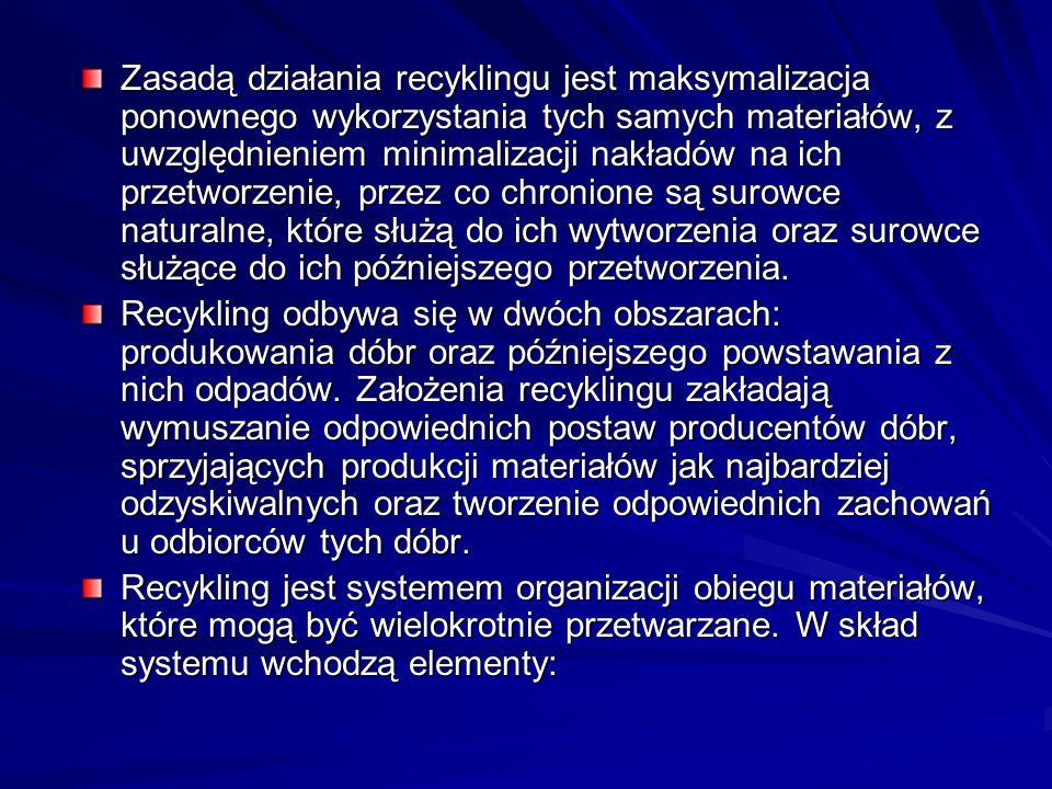 Zasadą działania recyklingu jest maksymalizacja ponownego wykorzystania tych samych materiałów, z uwzględnieniem minimalizacji nakładów na ich przetwo