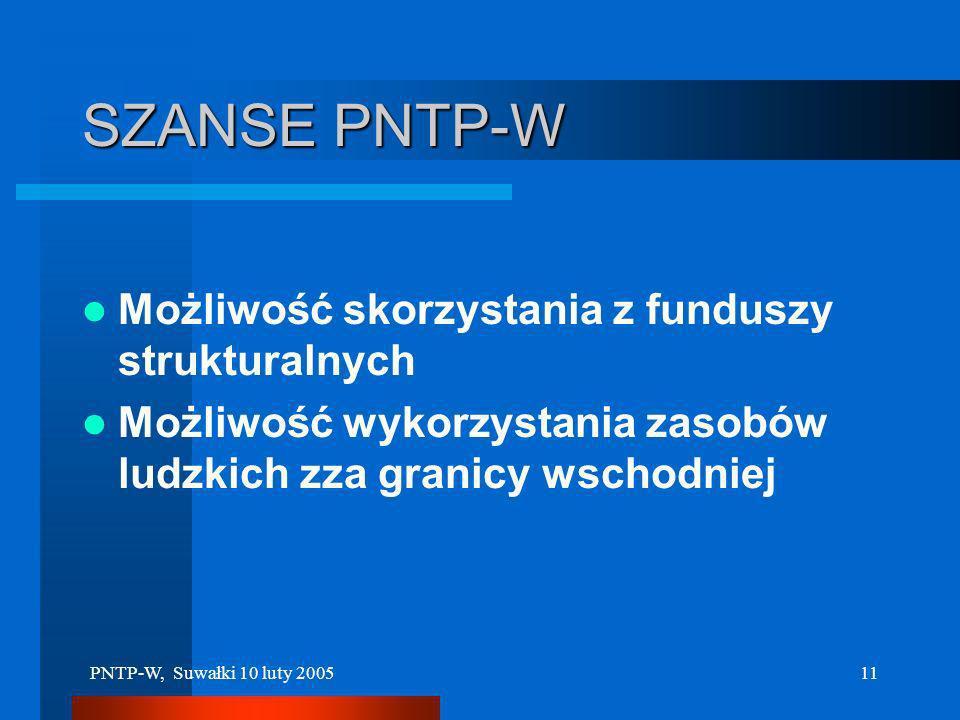 PNTP-W, Suwałki 10 luty 200510 Specyfika PNTP-W (2) Związanie z rozwojem technik informatycznych i usług w dziedzinie SPOŁECZEŃSTWA INFORMACYJNEGO Zwi