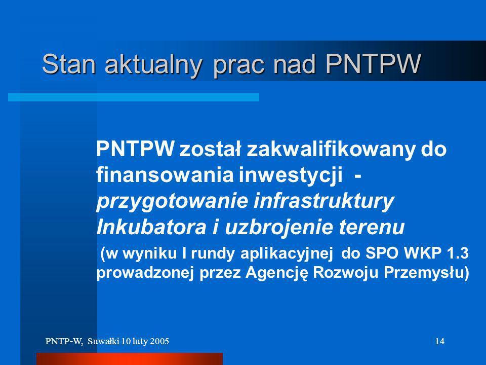 PNTP-W, Suwałki 10 luty 200513 Początek przedsięwzięcia realizacja projektów: 1. Międzynarodowe Wschodnie Centrum Innowacji 2. Inkubator Technologiczn