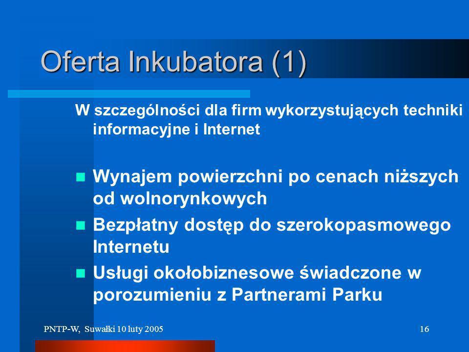 PNTP-W, Suwałki 10 luty 200515 Stan aktualny Całość projektu inwestycyjnego –w latach 2005-2007 12.5 mln. zł. INNE PROJEKTY dla PARKU Dla INKUBATORA –