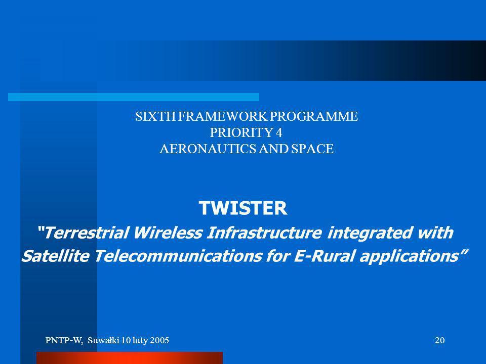 PNTP-W, Suwałki 10 luty 200519 TWISTER – przykład W ramach projektu TWISTER (6. Program Ramowy UE) Politechnika Warszawska realizuje na Suwalszczyźnie