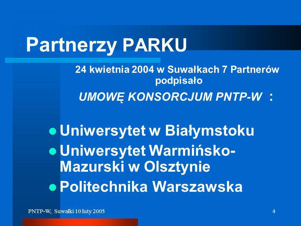 PNTP-W, Suwałki 10 luty 20053 Misja i Cel PNTP-W Podjęcie spójnego zespołu działań, rozłożonych na najbliższe lata, prowadzących do możliwie szybkiego