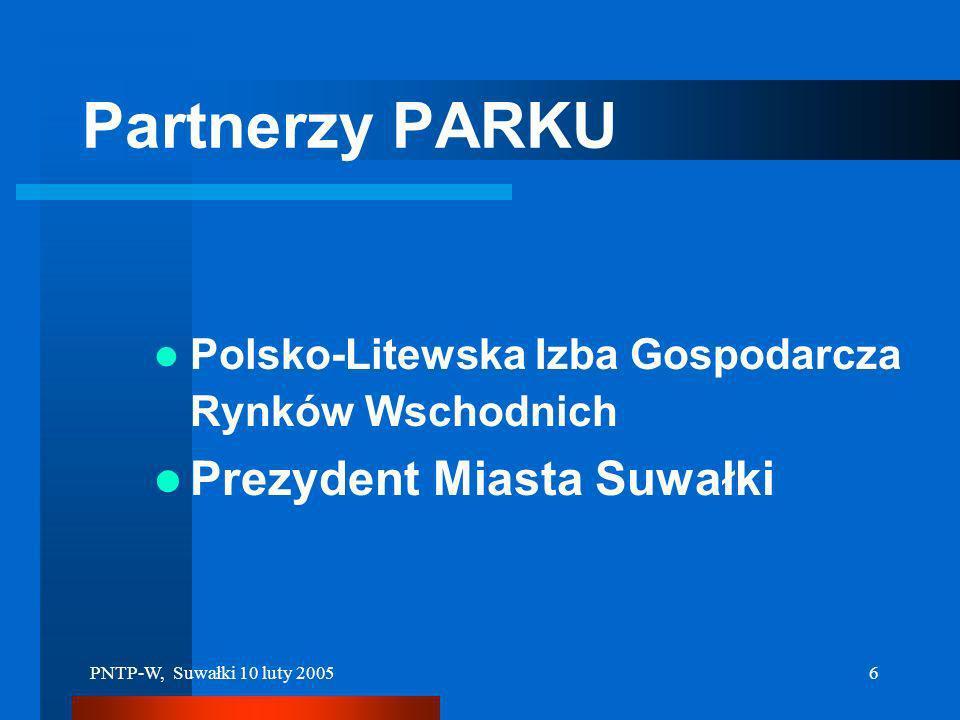 PNTP-W, Suwałki 10 luty 20055 Partnerzy PARKU Państwowy Instytut Geologiczny Instytut Łączności