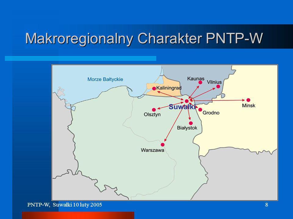 PNTP-W, Suwałki 10 luty 20057 Specyfika PNTP-W (1) Makroregionalny charakter Parku Wykorzystanie Potencjału trzech polskich Regionów (w szczególności