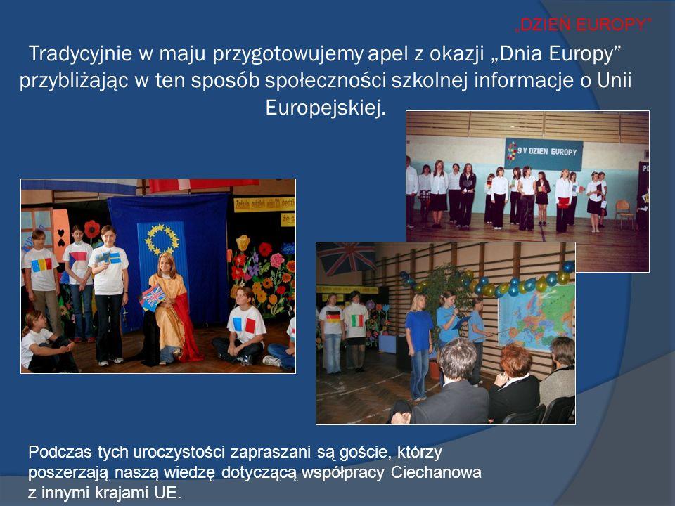 Tradycyjnie w maju przygotowujemy apel z okazji Dnia Europy przybliżając w ten sposób społeczności szkolnej informacje o Unii Europejskiej.
