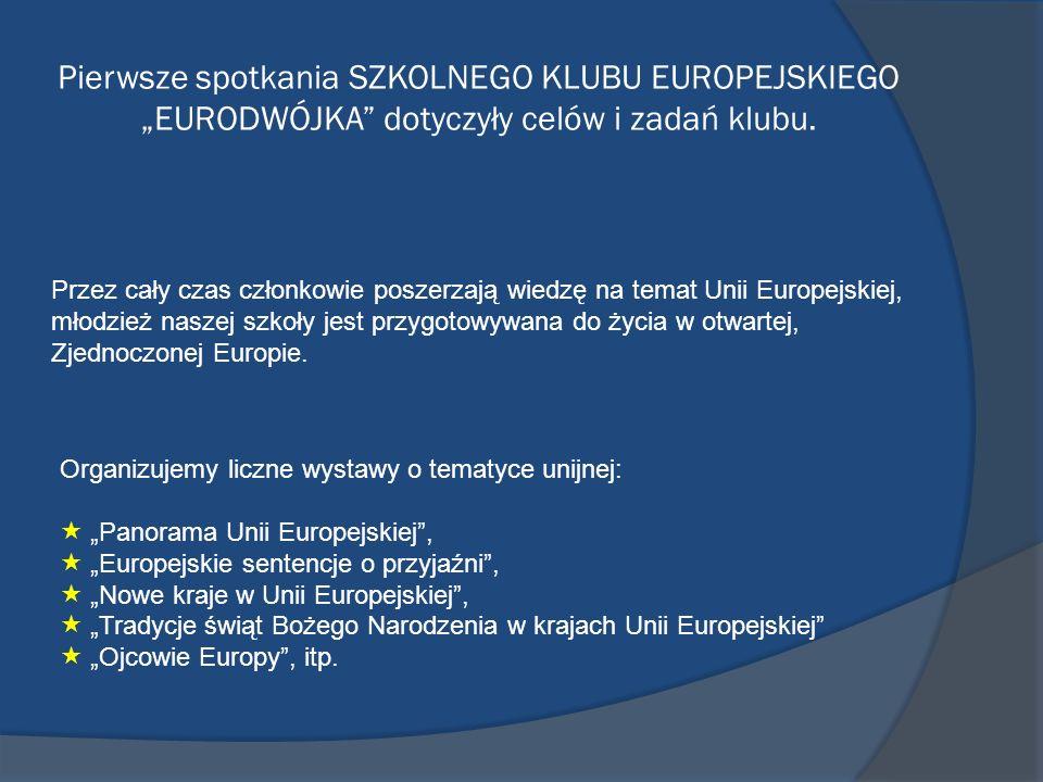 Pierwsze spotkania SZKOLNEGO KLUBU EUROPEJSKIEGO EURODWÓJKA dotyczyły celów i zadań klubu.