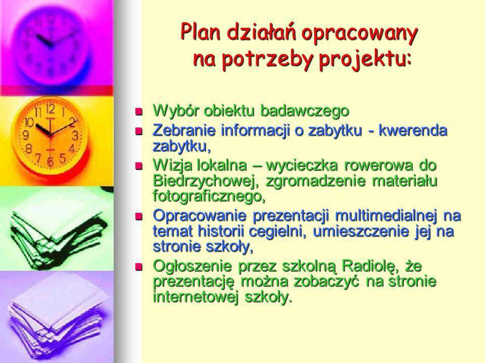 Plan działań opracowany na potrzeby projektu: Wybór obiektu badawczego Zebranie informacji o zabytku - kwerenda zabytku, Wizja lokalna – wycieczka row