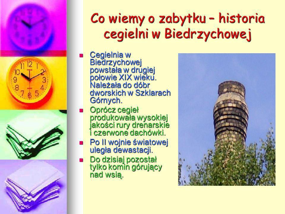 Co wiemy o zabytku – historia cegielni w Biedrzychowej Cegielnia w Biedrzychowej powstała w drugiej połowie XIX wieku. Należała do dóbr dworskich w Sz