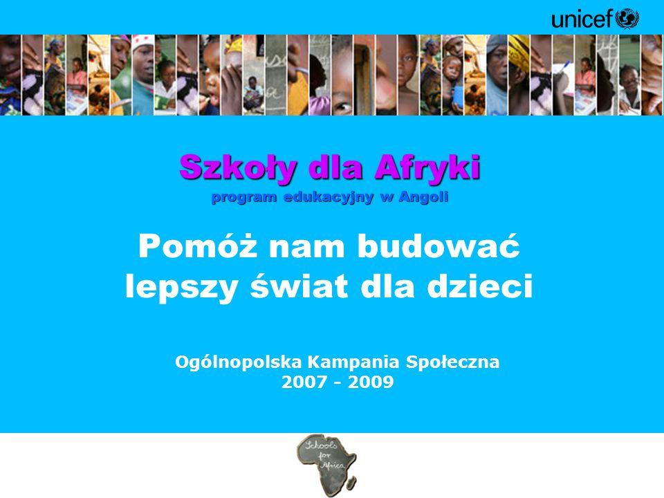 Pomóż nam budować lepszy świat dla dzieci Działania UNICEF w Polsce : Gala Jeden świat, dwa oblicza Gala Jeden świat, dwa oblicza Uwierz w świętego Mikołaja Uwierz w świętego Mikołaja Radosny powrót do szkoły Radosny powrót do szkoły UNICEF na dzień dziecka UNICEF na dzień dziecka Kąciki zabaw w szpitalach Kąciki zabaw w szpitalach