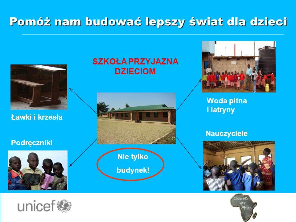 SZKOŁA PRZYJAZNA DZIECIOM Woda pitna i latryny Nauczyciele Podręczniki Ławki i krzesła Nie tylko budynek! Pomóż nam budować lepszy świat dla dzieci