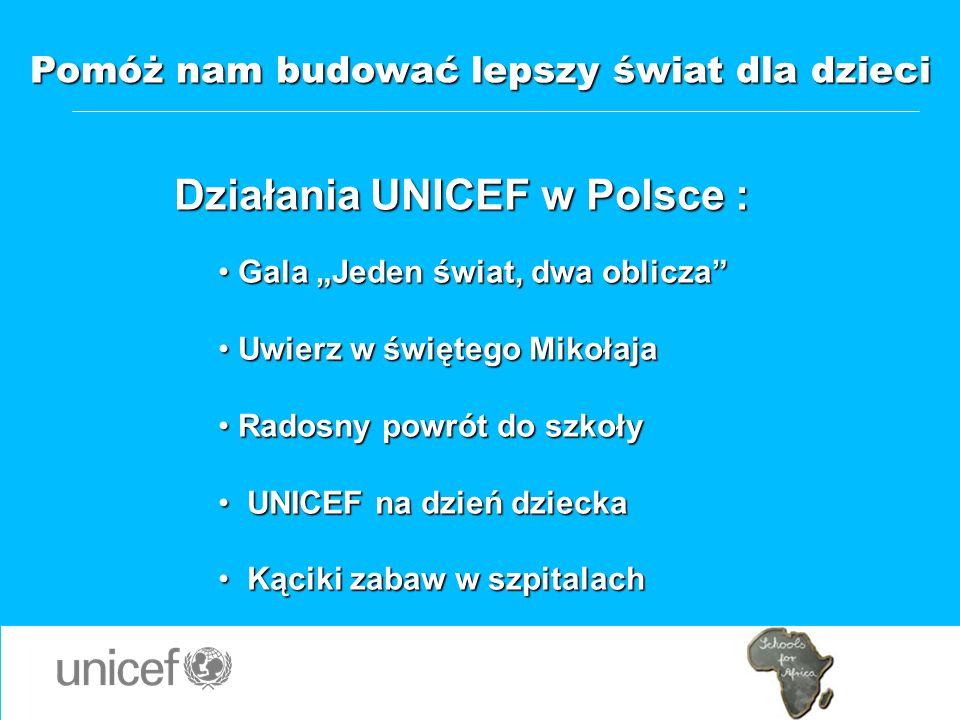 Pomóż nam budować lepszy świat dla dzieci Działania UNICEF w Polsce : Gala Jeden świat, dwa oblicza Gala Jeden świat, dwa oblicza Uwierz w świętego Mi