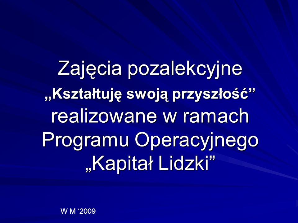 Zajęcia pozalekcyjne Kształtuję swoją przyszłość realizowane w ramach Programu Operacyjnego Kapitał Lidzki W M 2009