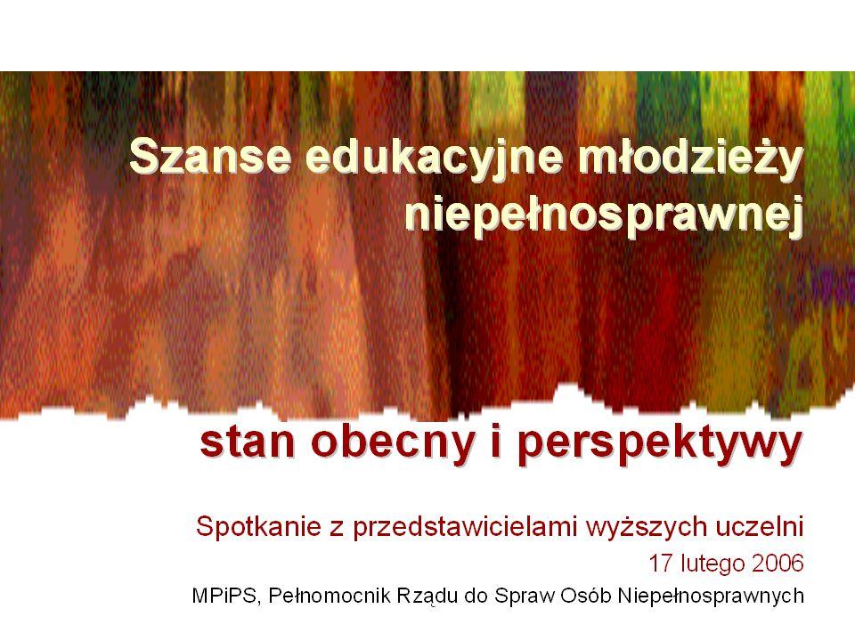 Studenci niepełnosprawni Źródło: GUS – publikacje z roku 1997, 2000, 2002, 2003, 2004 pt.