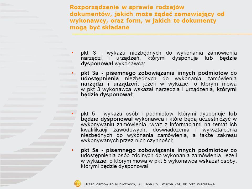 Urząd Zamówień Publicznych, Al. Jana Ch. Szucha 2/4, 00-582 Warszawa Rozporządzenie w sprawie rodzajów dokumentów, jakich może żądać zamawiający od wy