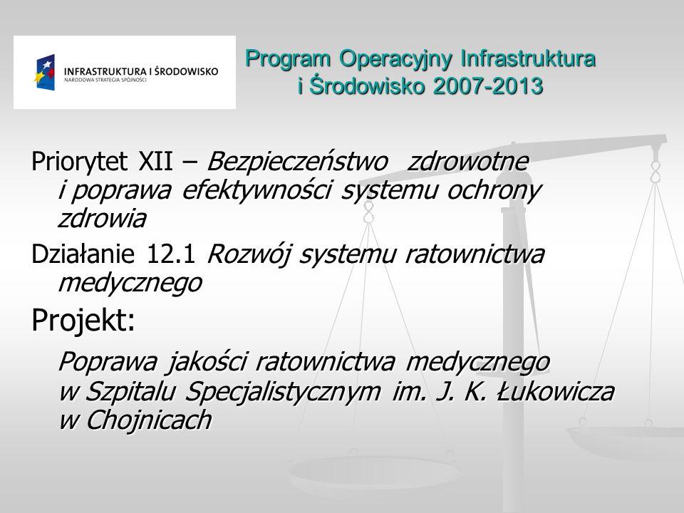 Program Operacyjny Infrastruktura i Środowisko 2007-2013 Priorytet XII – Bezpieczeństwo zdrowotne i poprawa efektywności systemu ochrony zdrowia Dział