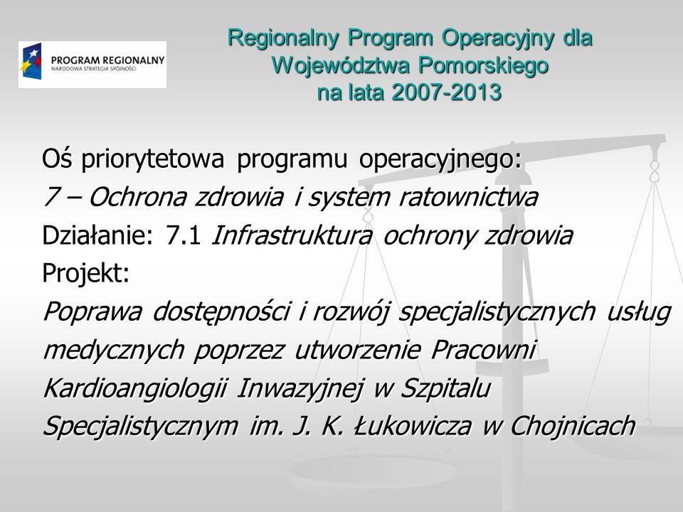 Regionalny Program Operacyjny dla Województwa Pomorskiego na lata 2007-2013 Oś priorytetowa programu operacyjnego: 7 – Ochrona zdrowia i system ratown