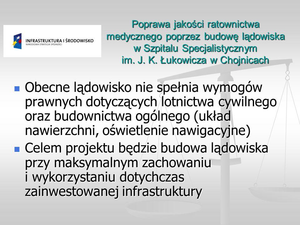 Poprawa jakości ratownictwa medycznego poprzez budowę lądowiska w Szpitalu Specjalistycznym im. J. K. Łukowicza w Chojnicach Obecne lądowisko nie speł