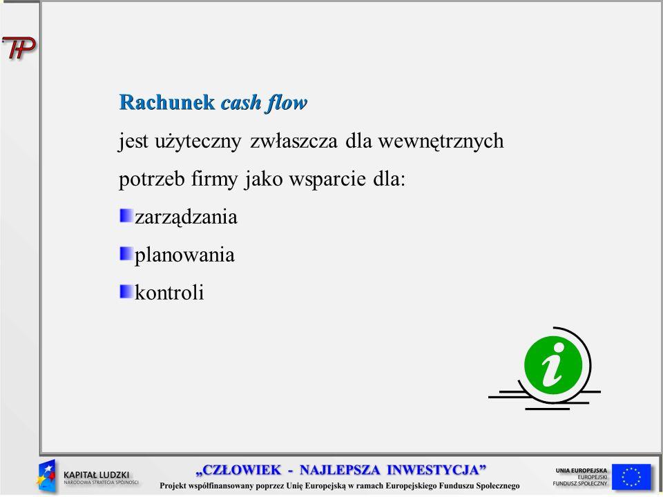 Rachunek cash flow Rachunek cash flow jest użyteczny zwłaszcza dla wewnętrznych potrzeb firmy jako wsparcie dla: zarządzania planowania kontroli