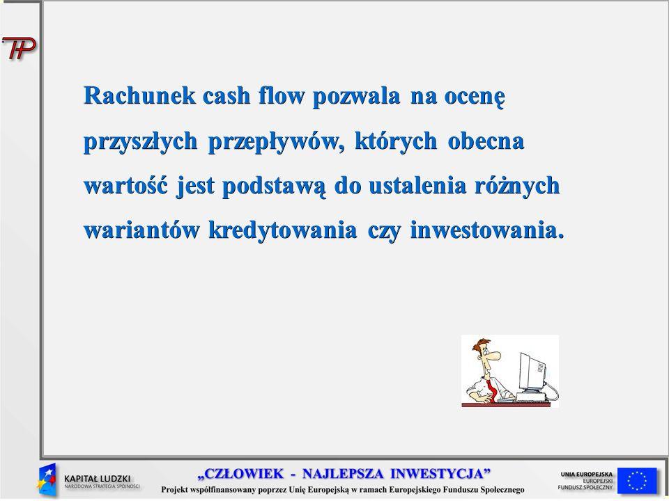 Rachunek cash flow pozwala na ocenę przyszłych przepływów, których obecna wartość jest podstawą do ustalenia różnych wariantów kredytowania czy inwest