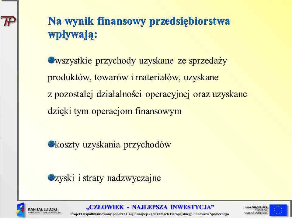 Ustalanie wyniku finansowego przedsiębiorstwa wynik finansowy Podstawowym miernikiem oceny rocznej działalności przedsiębiorstwa jest wynik finansowy.