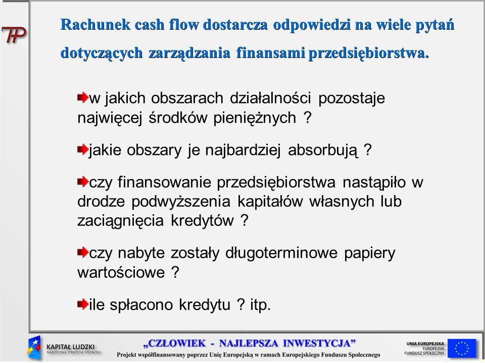 w jakich obszarach działalności pozostaje najwięcej środków pieniężnych ? jakie obszary je najbardziej absorbują ? czy finansowanie przedsiębiorstwa n