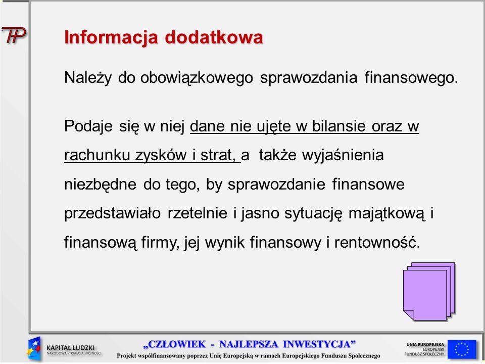 Informacja dodatkowa Należy do obowiązkowego sprawozdania finansowego. Podaje się w niej dane nie ujęte w bilansie oraz w rachunku zysków i strat, a t