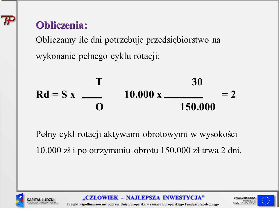 Obliczenia: Obliczamy ile dni potrzebuje przedsiębiorstwo na wykonanie pełnego cyklu rotacji: T 30 Rd = S x 10.000 x = 2 O 150.000 Pełny cykl rotacji