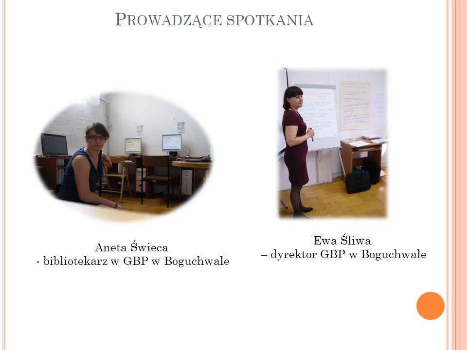 P ROWADZĄCE SPOTKANIA Aneta Świeca - bibliotekarz w GBP w Boguchwale Ewa Śliwa – dyrektor GBP w Boguchwale