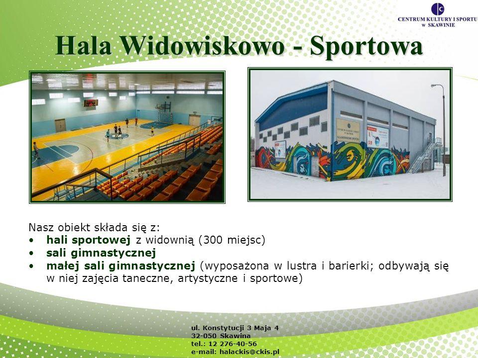 Hala Widowiskowo - Sportowa Nasz obiekt składa się z: hali sportowej z widownią (300 miejsc) sali gimnastycznej małej sali gimnastycznej (wyposażona w