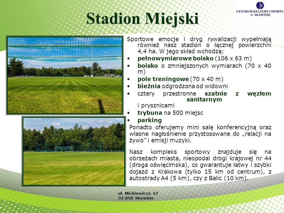 Stadion Miejski Sportowe emocje i dryg rywalizacji wypełniają również nasz stadion o łącznej powierzchni 4,4 ha. W jego skład wchodzą: pełnowymiarowe