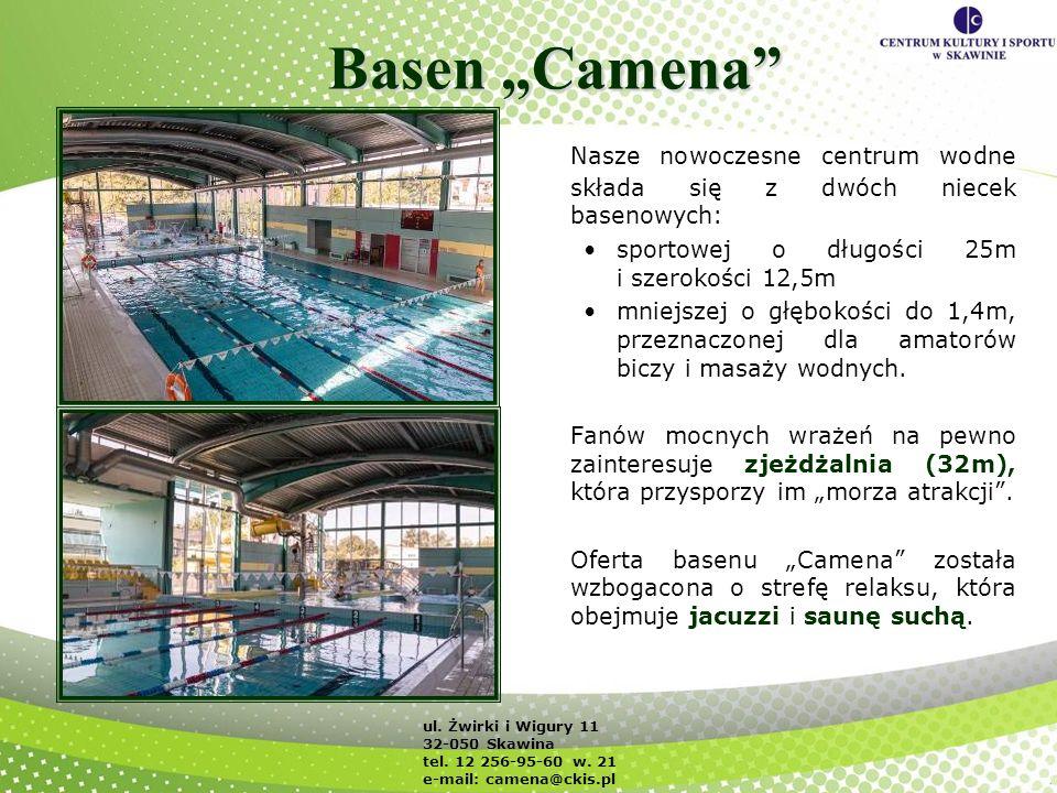 Basen Camena Nasze nowoczesne centrum wodne składa się z dwóch niecek basenowych: sportowej o długości 25m i szerokości 12,5m mniejszej o głębokości d