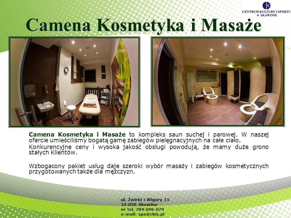 Camena Kosmetyka i Masaże Camena Kosmetyka i Masaże to kompleks saun suchej i parowej. W naszej ofercie umieściliśmy bogatą gamę zabiegów pielęgnacyjn