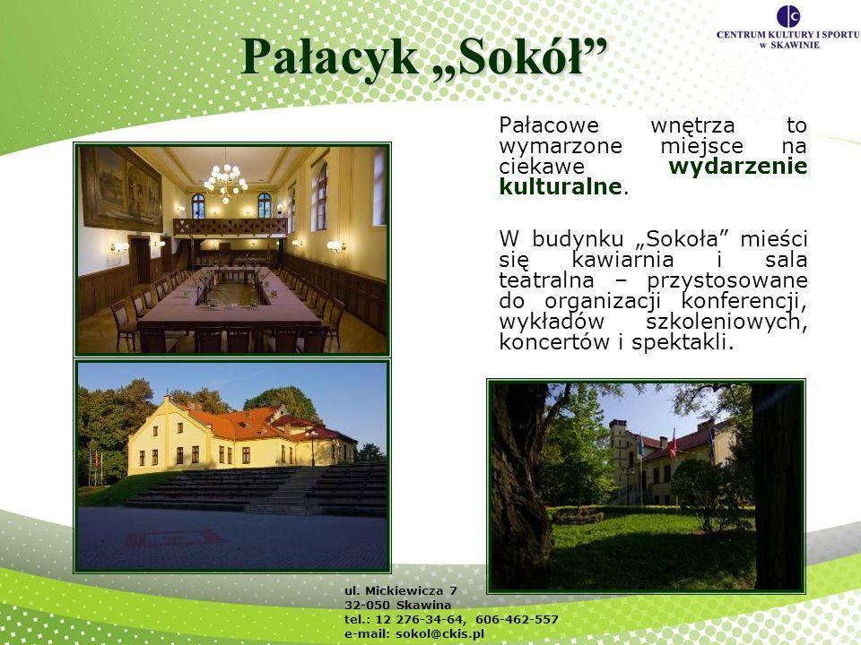 Pałacyk Sokół Pałacowe wnętrza to wymarzone miejsce na ciekawe wydarzenie kulturalne. W budynku Sokoła mieści się kawiarnia i sala teatralna – przysto
