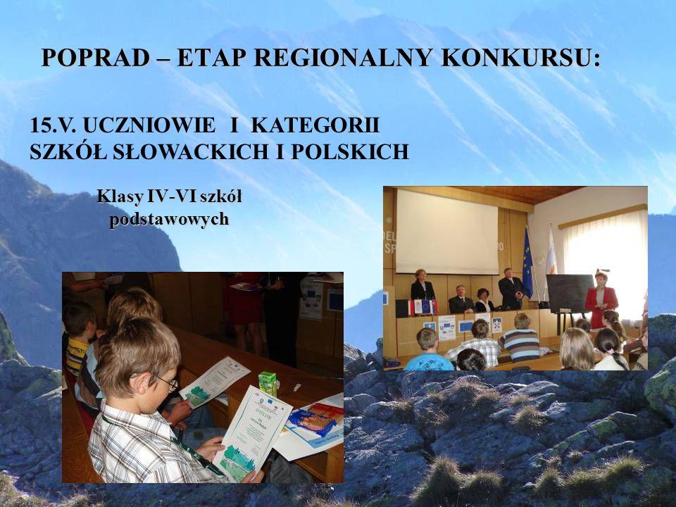 POPRAD – ETAP REGIONALNY KONKURSU: Klasy IV-VI szkół podstawowych 15.V.