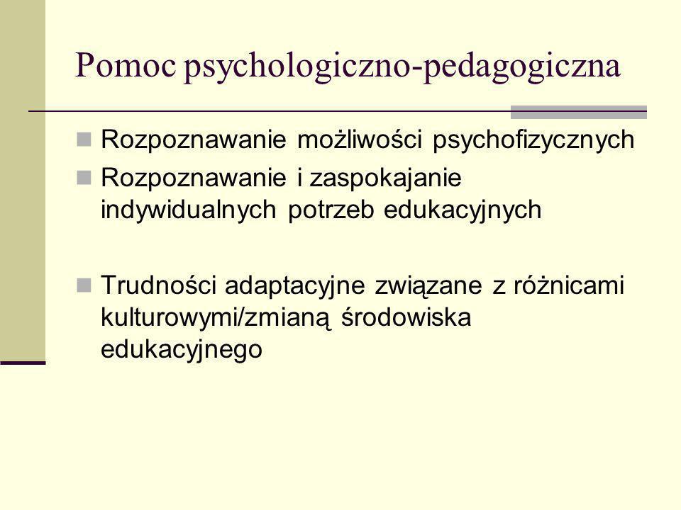 Pomoc psychologiczno-pedagogiczna Rozpoznawanie możliwości psychofizycznych Rozpoznawanie i zaspokajanie indywidualnych potrzeb edukacyjnych Trudności adaptacyjne związane z różnicami kulturowymi/zmianą środowiska edukacyjnego