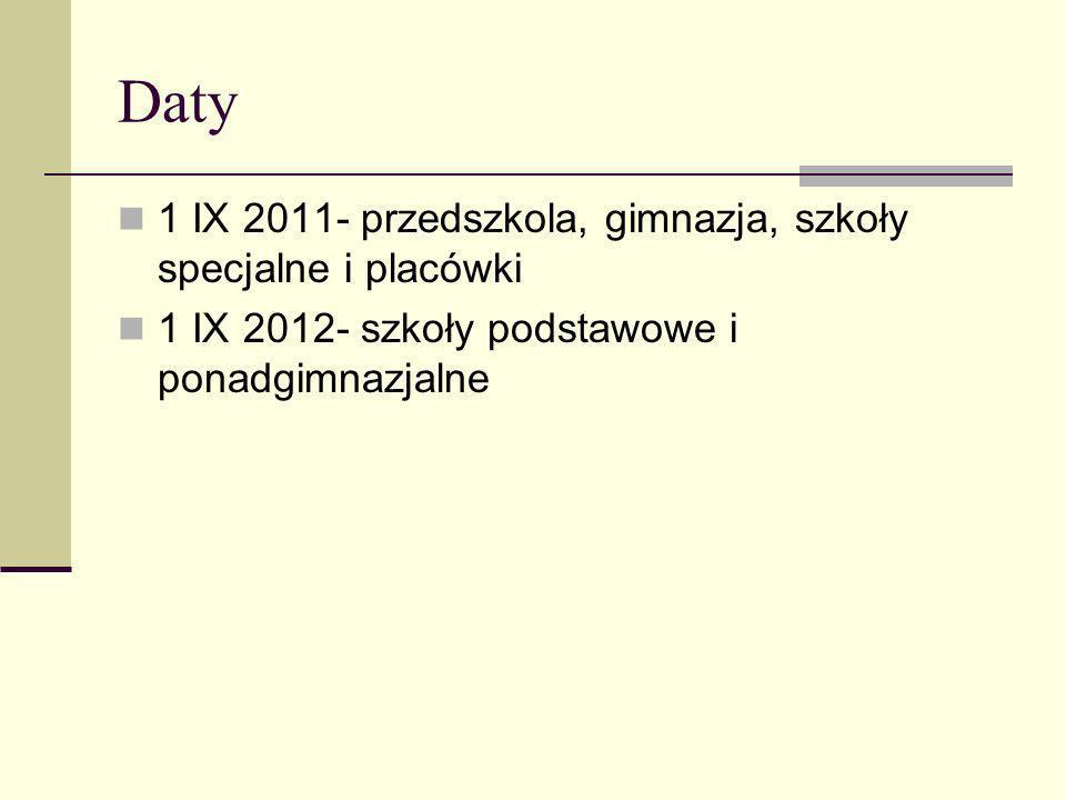 Daty 1 IX 2011- przedszkola, gimnazja, szkoły specjalne i placówki 1 IX 2012- szkoły podstawowe i ponadgimnazjalne
