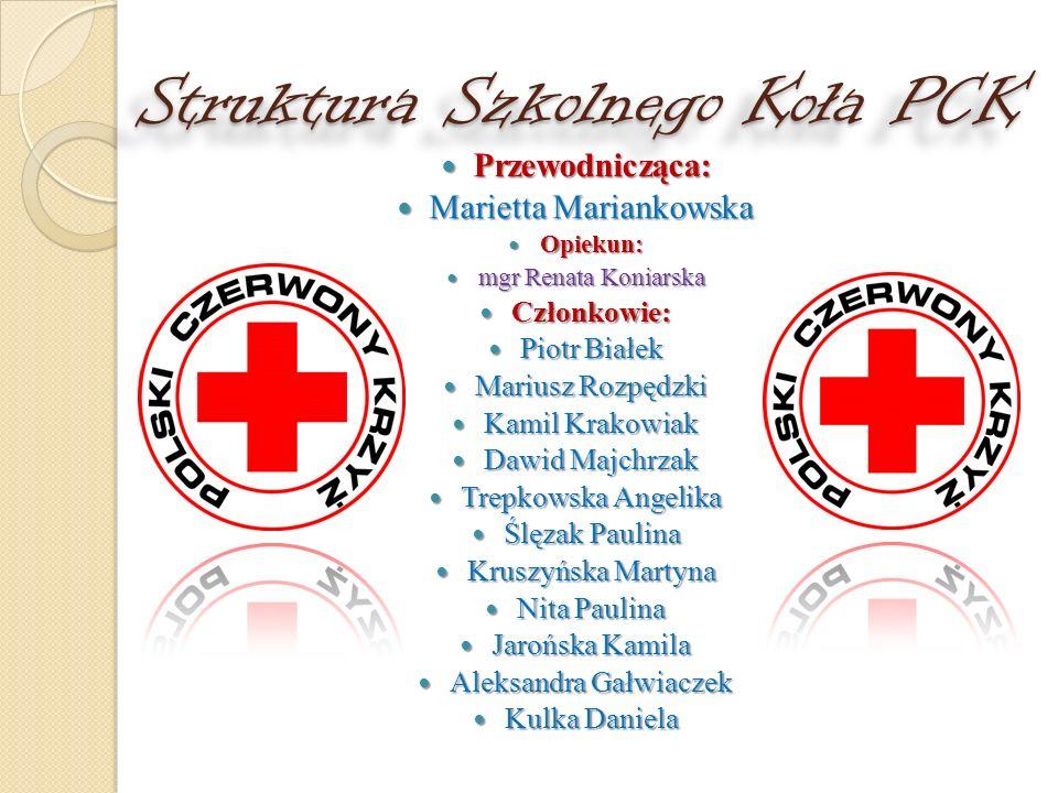 Struktura Szkolnego Koła PCK Przewodnicząca: Przewodnicząca: Marietta Mariankowska Marietta Mariankowska Opiekun: Opiekun: mgr Renata Koniarska mgr Re