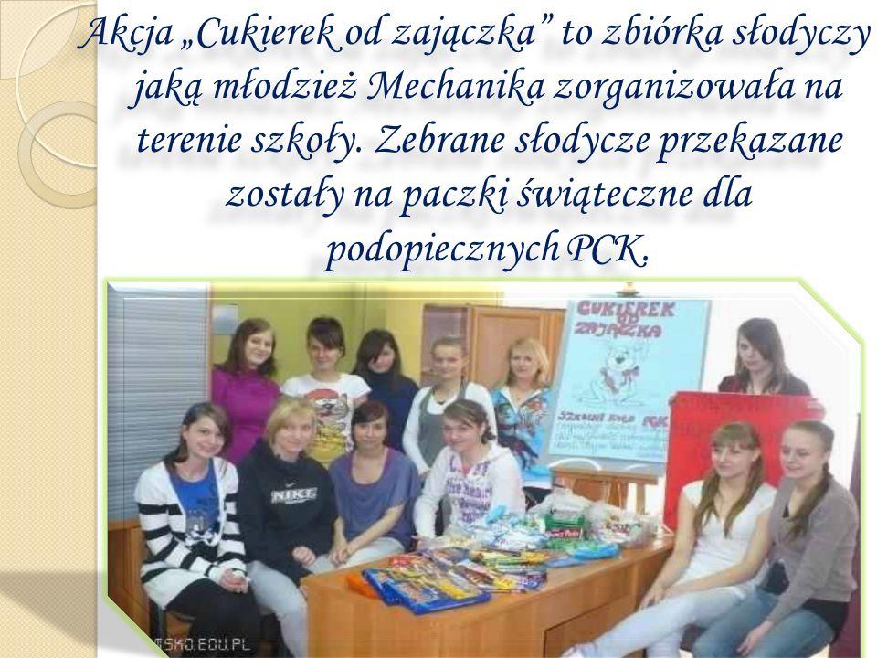 Akcja Cukierek od zajączka to zbiórka słodyczy jaką młodzież Mechanika zorganizowała na terenie szkoły. Zebrane słodycze przekazane zostały na paczki