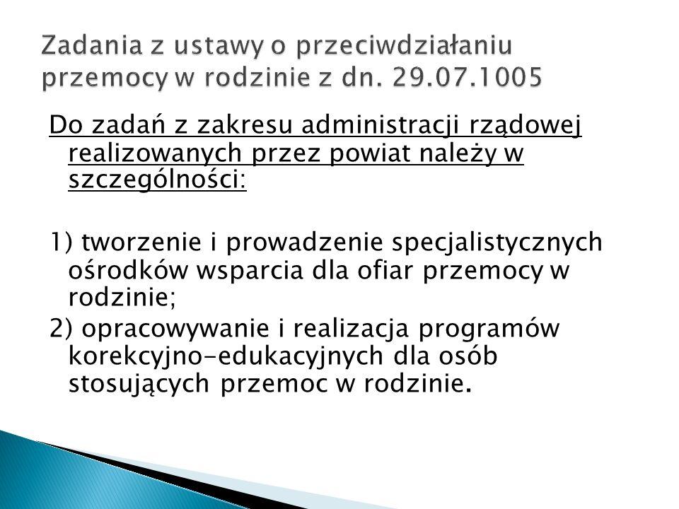 Do zadań z zakresu administracji rządowej realizowanych przez powiat należ y w szczególności: 1) tworzenie i prowadzenie specjalistycznych ośrodków ws