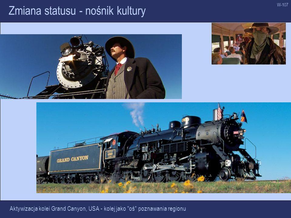 W-107 Zmiana statusu - nośnik kultury Aktywizacja kolei Grand Canyon, USA - kolej jako